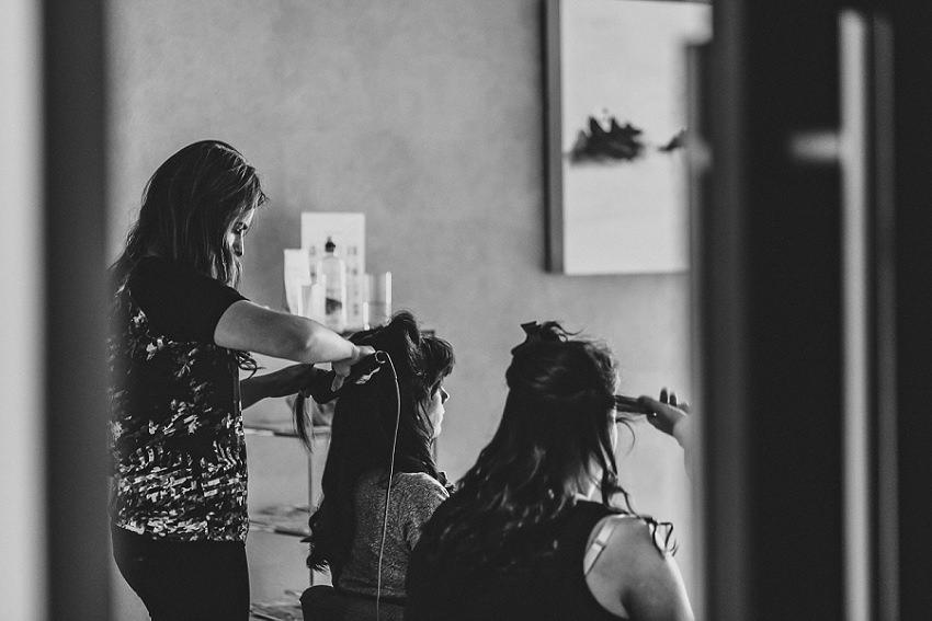 Bridesmaids getting hair done