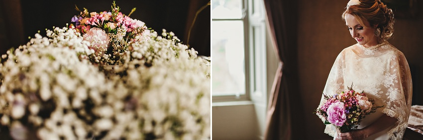 bride portrait with flowers before ceremony