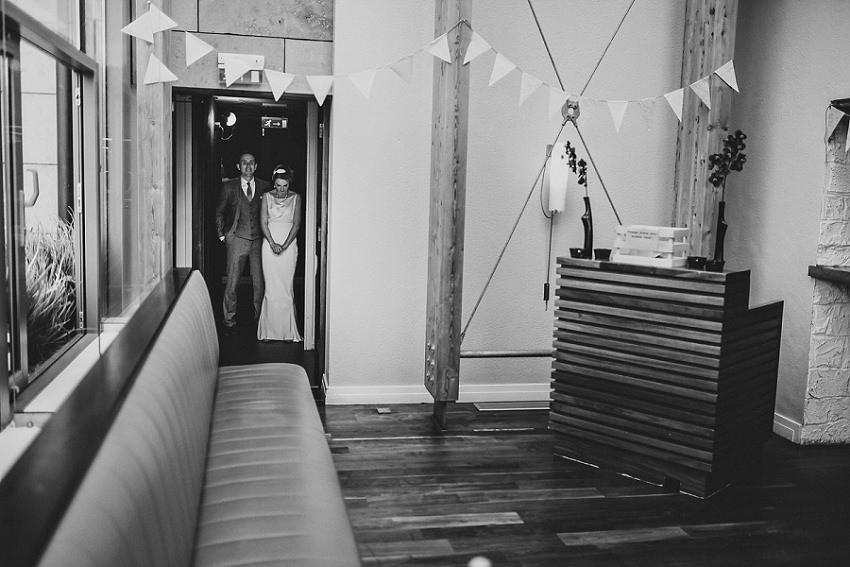 wedding couple before entering the reception
