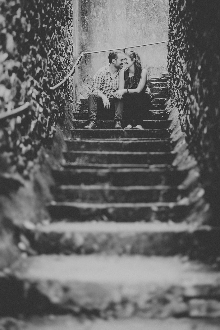 Wedding couple on stairs