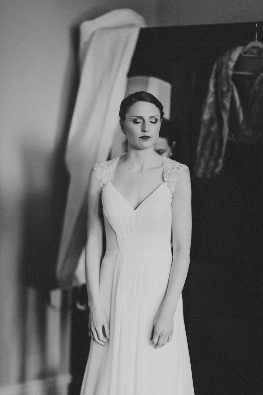 black & white artistic picture of the bride