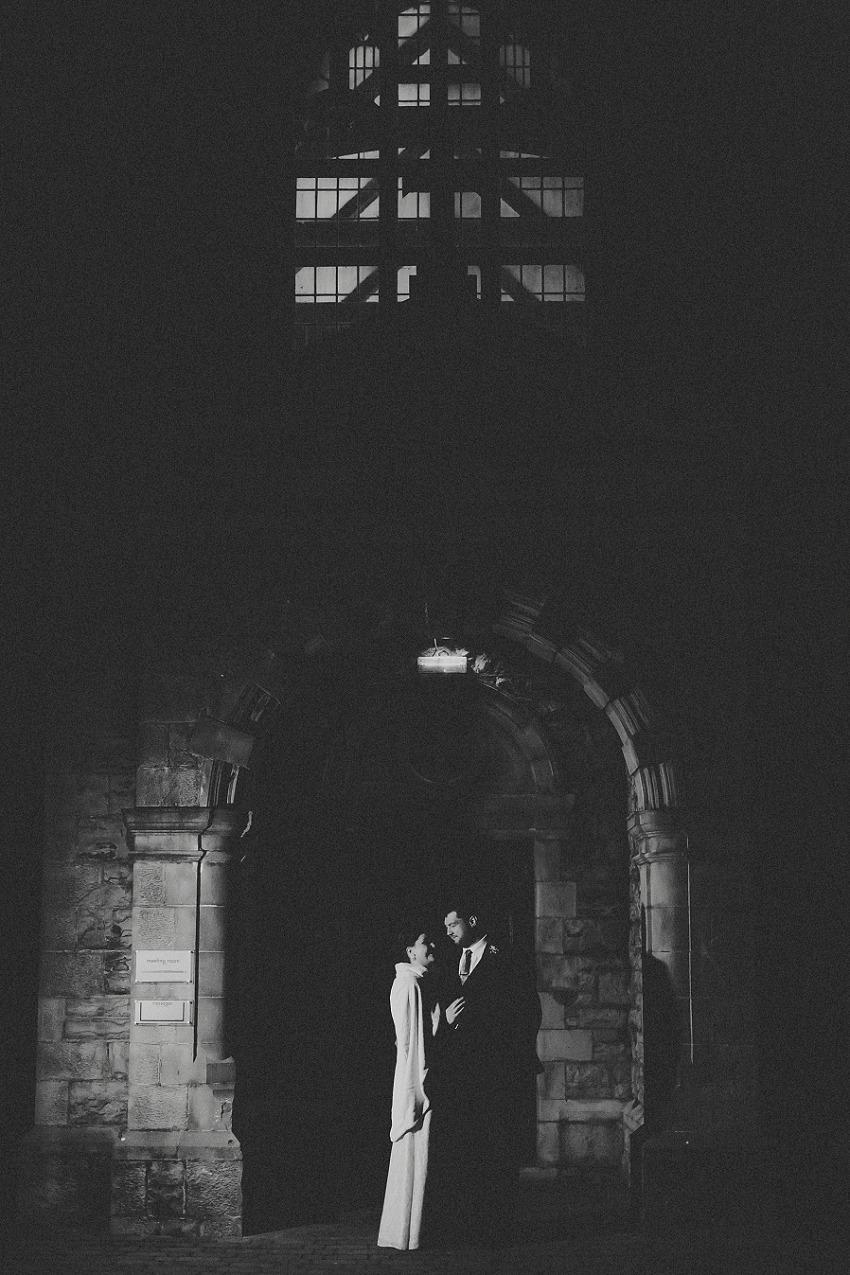 bride and groom night portrait