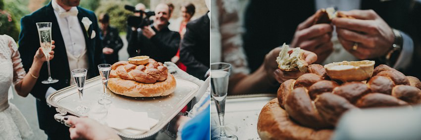 polish wedding tradition - shot of water or vodka and homemade bread