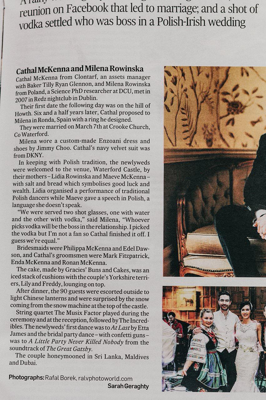 Published in Irish Times newspaper   Irish Castle wedding   Photographer Ireland 2