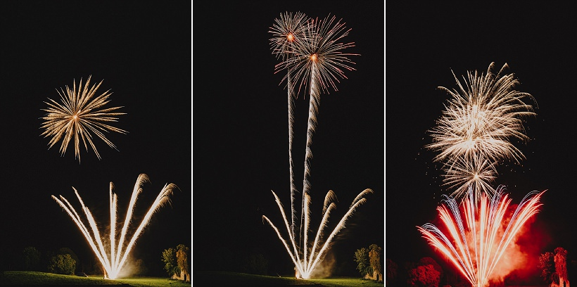 fireworks at wedding in temple house