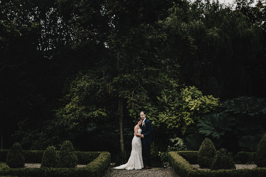 photo session in gardens of the Marlfield House after ceremony