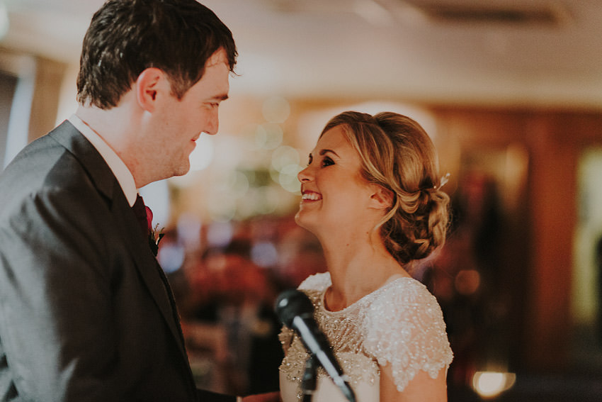 vows during civil ceremony in Rathsallagh House