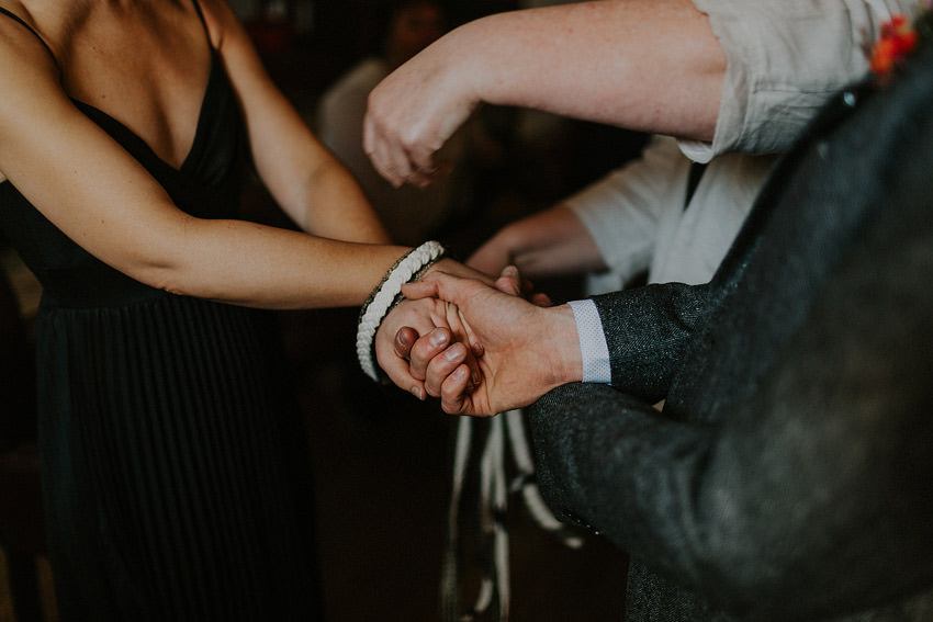 Handfasting with the ribbon is an ancient Ireland Celtic tradition the ribbon joined hands as a symbol of their agreement to spend their lives together.