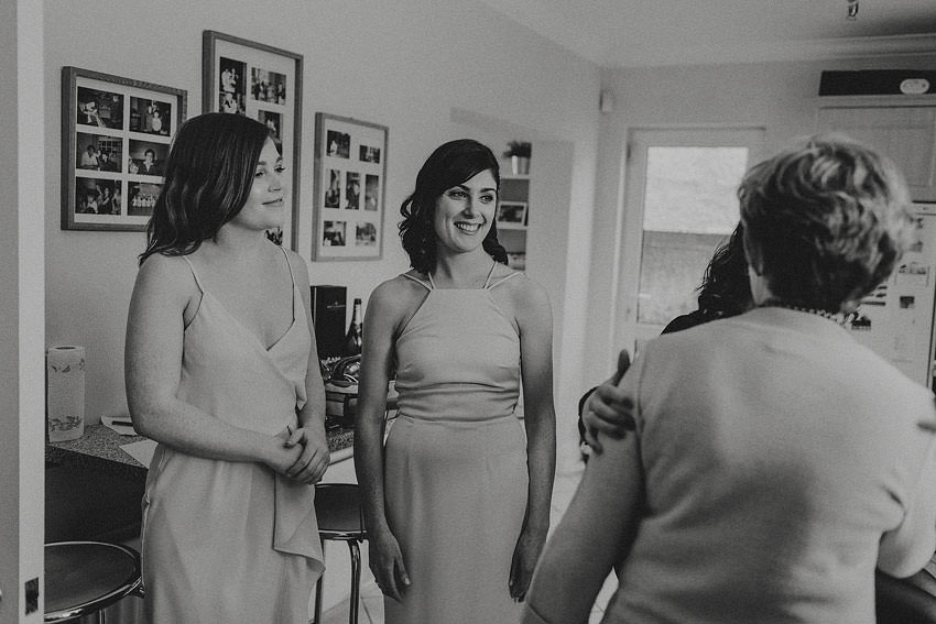 ready bridesmaids in dresses