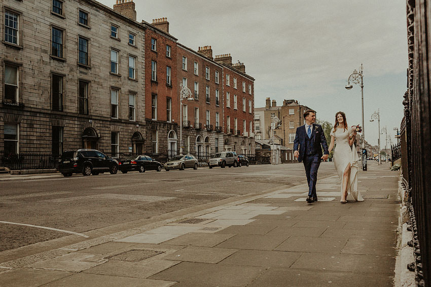 streets of dublin with bride and groom