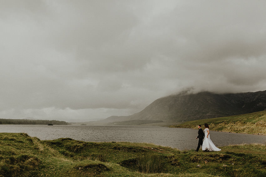 elopement to ireland and photos with wedding couple in connemara