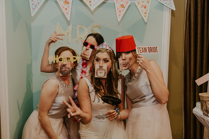 photobooth - bridal party makes funny faces