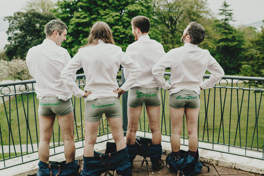 Hilarious picture of Cathal and his brothers with just the panties on. Wedding underwear groom, groomsman, bestman