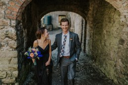 Irish wedding elopement in Roundwood house, photo of the couple walking to blessing ceremony