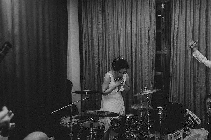 bride plays drums