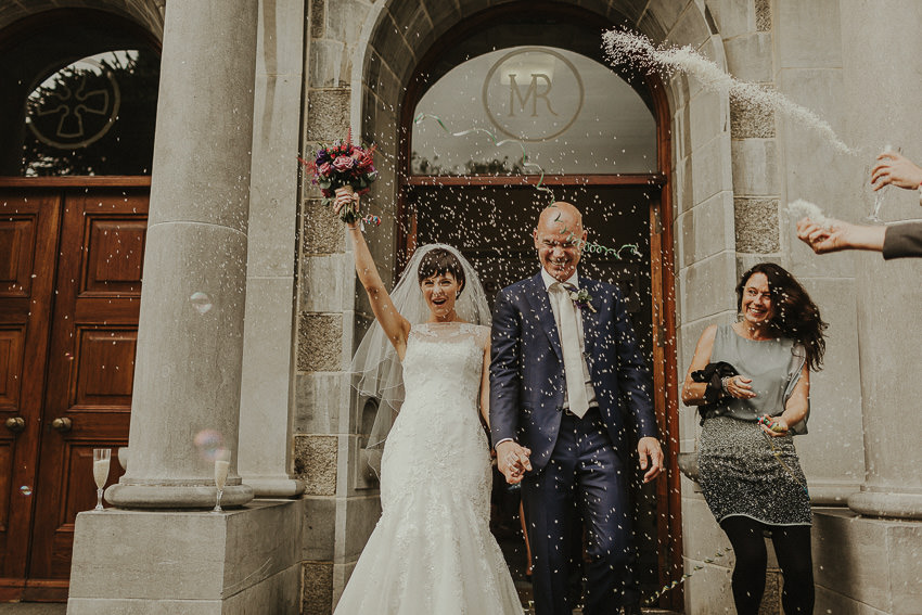 spectacular church exit of bride and groom