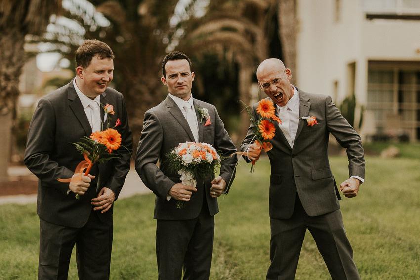 bestman is eating flowers - lanzarote wedding