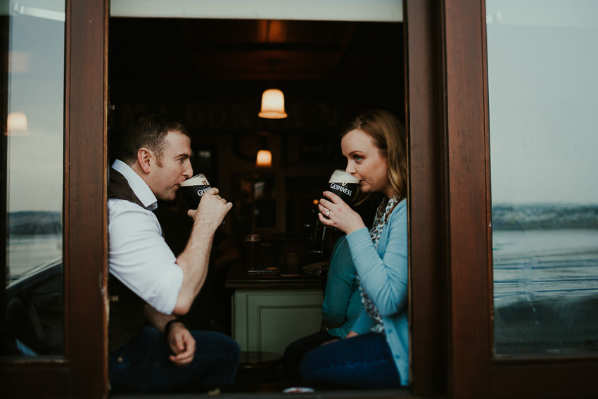 Engagement session in Swords - Maggy and Darren enjoy pint of Guinness