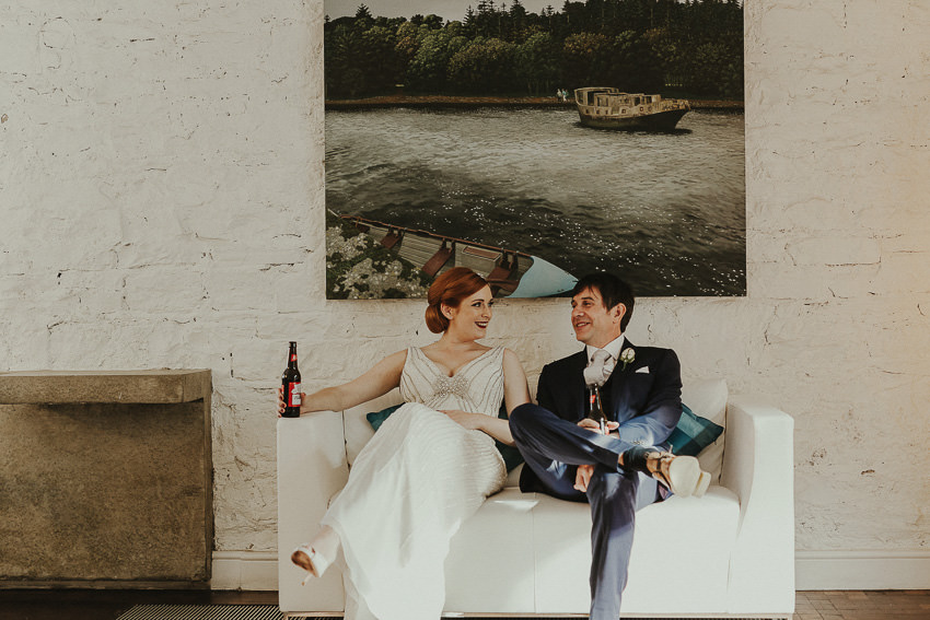 Niamh and Nick relax and enjoy beer in Ice House Hotel