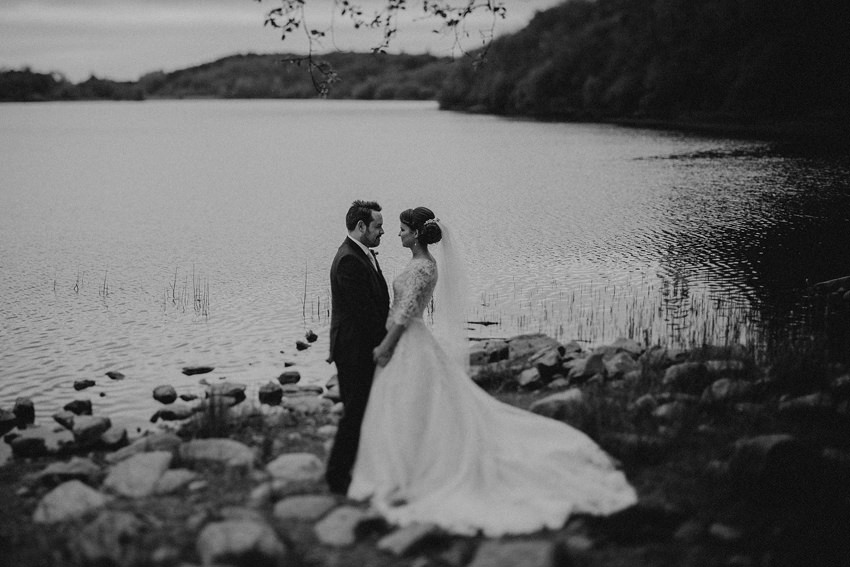 wedding Picture at the lake nearby Farnham estate, alternative documentary photography