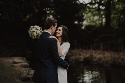 Intimate wedding at the shelbourne hotel - bride and groom portrait at the st stephen's green park