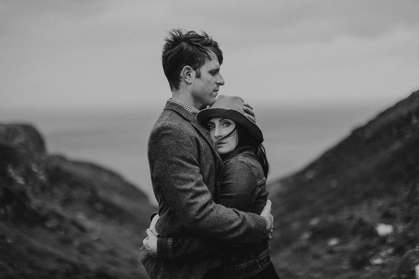 eye catching black and picture, elopement on irish cliffs