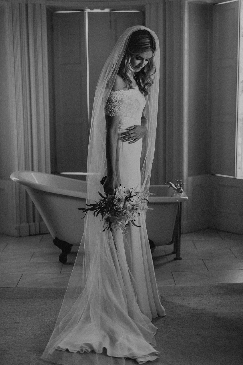 black and white portrait of stunning bride