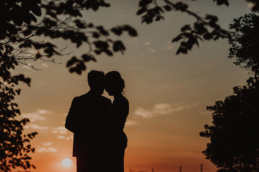 gorgeous sunset portrait of bride and groom at kilshane house