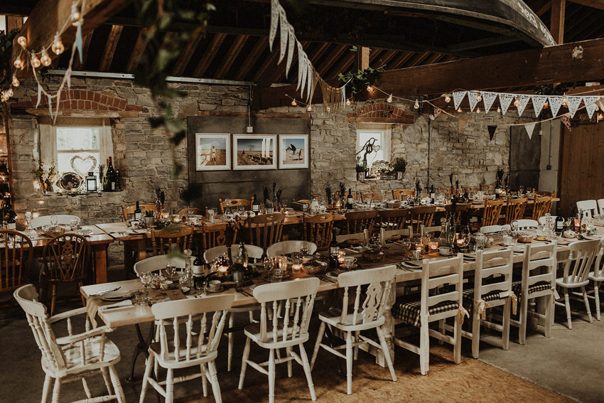 Barn wedding venue - table decor at Durhamstown castle