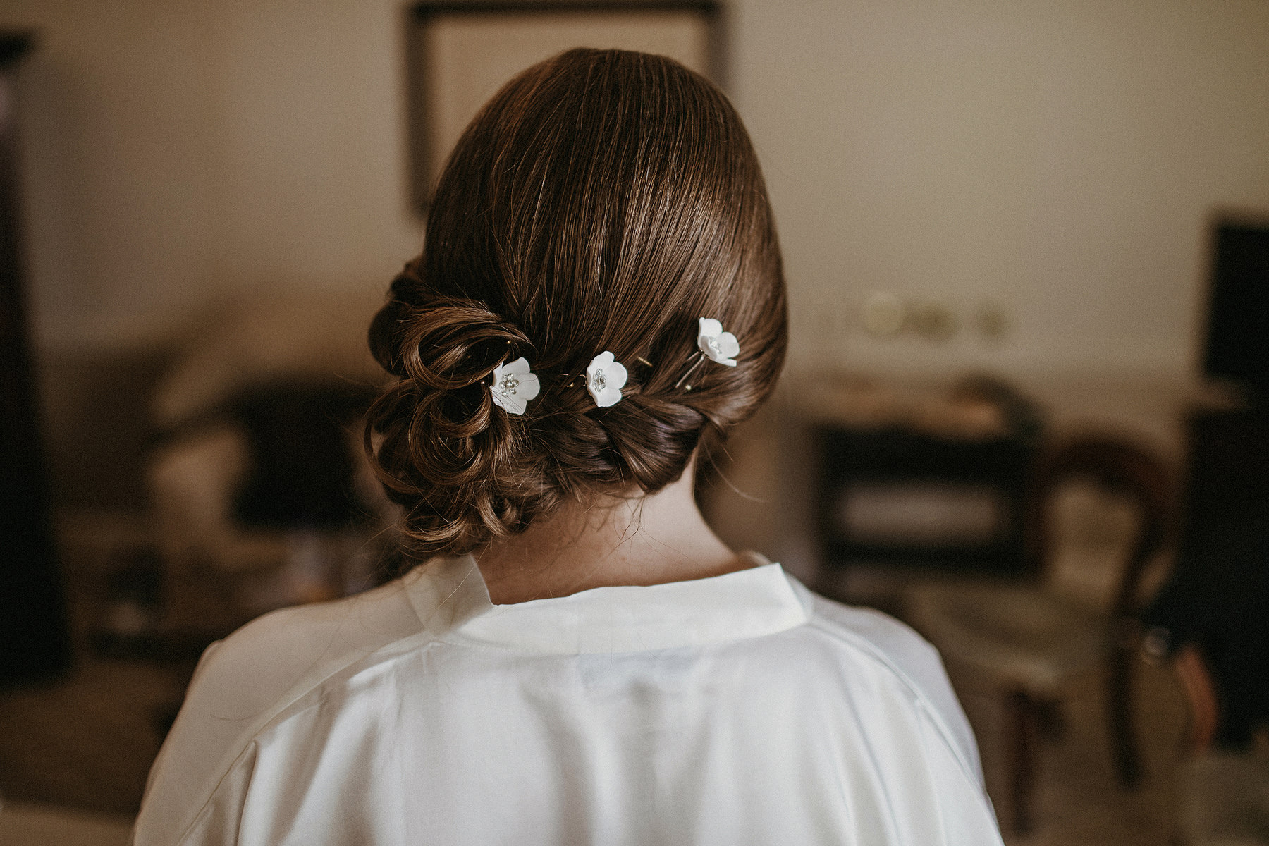 Bride with flowers in the hair