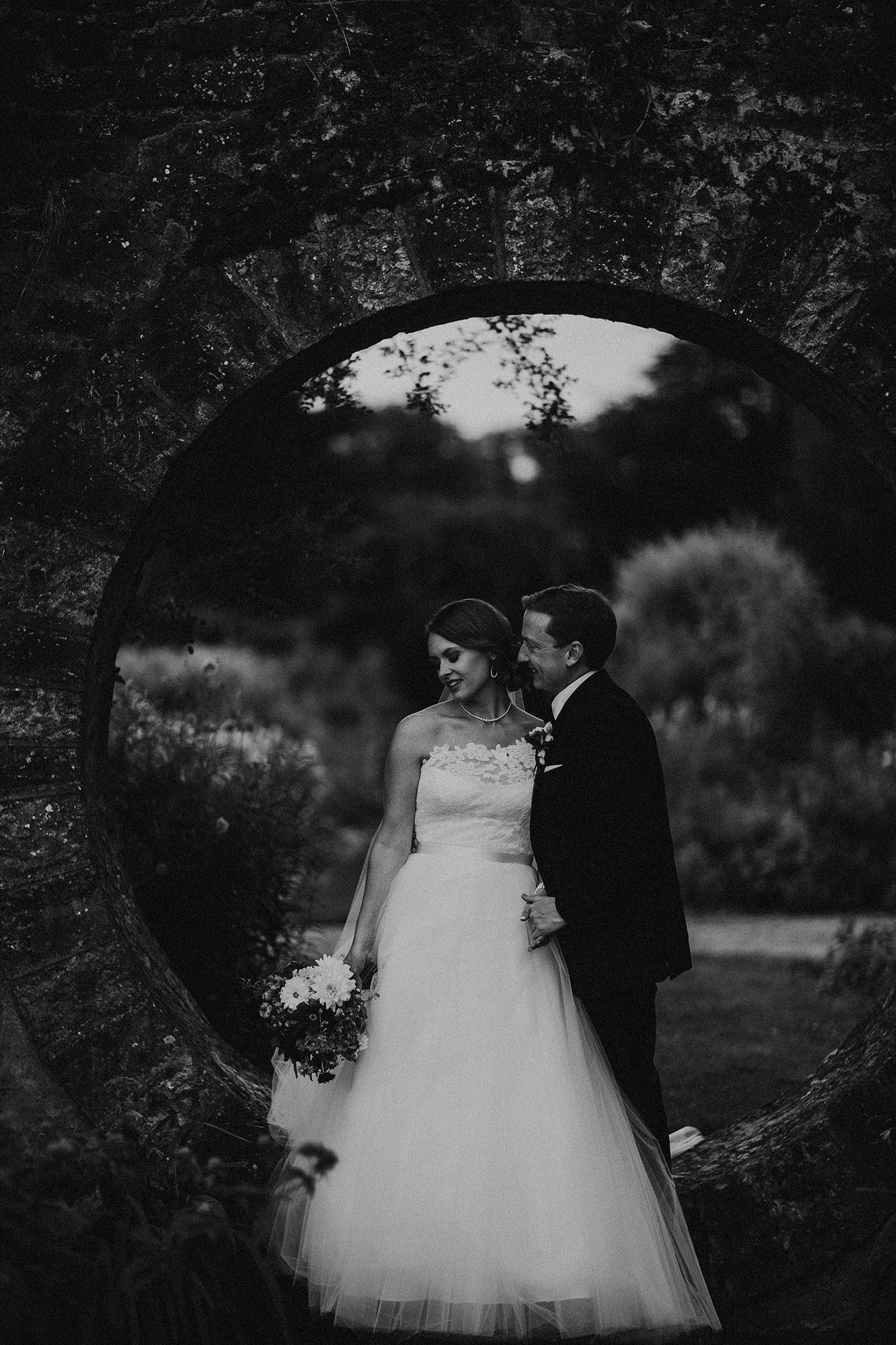 Beautiful black and white wedding portrait in the garden at mount juliet