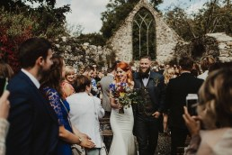 0098-Huntington Castle wedding, alternative wedding , red hair bride with tatoos and groom with beard and jeans - published on one fab day 6